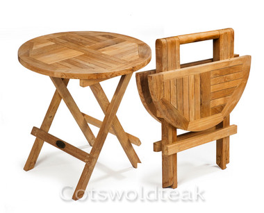 Cotswold Teak round solid top picnic table with handles.