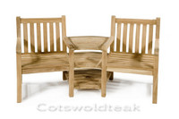 Cotswold Teak Ambleside companion set, the 3 shelves have a parasol hole to take a 48mm parasol pole.