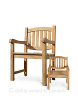 Cotswold teak Giants Chair with normal sized Malvern carver chair.