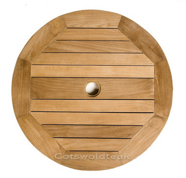Cotswold Teak 80cm Lazy Susan. Free standing Lazy Susan all come with a centre hole to take a 48mm parasol pole.