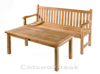Cotswold Teak straight back bench 150cm with a Burford coffee table 100cm x 50cm.