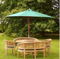 Cotswold Teak Crummock set : Churn 150cm dia round table with 28mm thick top. Parasols available in Green, Blue or Beige
