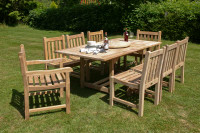 Cotswold Teak Arrow 120 Grisdale set, Arrow 120cm table extending to 180cm with 2 grisdale Carver chairs and 6 Grisdale side chairs.