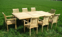 Cotswold Teak Arrow 180 Grisdale Tingewick set, Arrow 180cm table extending to 230cm table 28mm thick top, with 8 Tingewick stacking chairs.