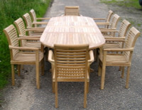 Cotswold Teak Chunky Avon 3m Tingewick set, Avon 240cm table extending to 300cm table 40mm thick top, with 10 Tingewick stacking chairs.