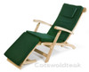 Cotswold teak steamer chair with a green cushion.