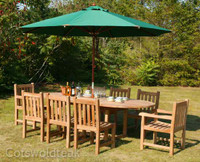 Avon 180 Chunky Table + 6 Grisdale Side & 2 Grisdale Carver Chairs & Parasol