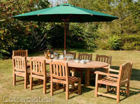 Avon 180 Chunky Table + 6 Malvern Side & 2 Malvern Carver Chairs & 3m Parasol