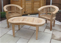 Cotswold teak Crummock Chairs shown with a Cam coffee table.