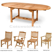 Cotswold Teak Avon 180 with choice of chairs set, Avon 180cm table extending to 240cm table 40mm thick top, with 8 chairs from the choice of 4 styles.