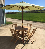 120cm Dia Churn table + 4 Wenlock folding chairs and a 3m Olive Parasol