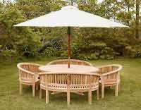 Chunky 2.1 mtr Round Table with 40mm thickness top plus 4 Banana Benches and a 3.3mtr Parasol