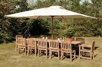 Chunky Rectangular Table with 10 Malvern Side Chairs and 2 Malvern Arm Chairs and 3.3 mtr Parasol