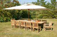 Arrow Rectangular 240cm extending to 300cm Table with 12 Chairs plus 3.3mtr Parasol