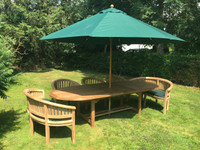 Avon 3mtr extending table with Banana Benches and Banana Chairs and a 3.3mtr Parasol