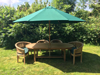 180cm extending to 240cm Oval Table with 2 Banana Benches and 2 Banana Chairs and a 3mtr Parasol available in either Green, Blue or Beige