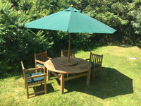 Chunky Churn 160cm Table with 6 Grisdale Arm Chairs and a 3m Parasol