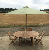 Avon/Wenlock - 130cm Extending to 180cm Oval Table with 6 Wenlock  Chairs + a 2.5m Parasol