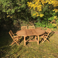 Avon 130/180 with 2 Wenlock arm and 4  Wenlock Side chairs, 2.5m Parasol and a set of cushions