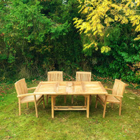 Arrow Rectangular 120/180 table with 6 Henley stacking Chairs