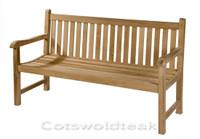 Cotswold Teak 120cm Straight back bench.