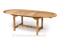 Avon oval table 150cm extending to 210cm by 120cm wide. the table top is 28mm thick.