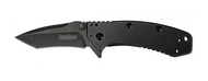 "Kershaw Cryo 1555TBW Assisted Opening Knife, Blackwashed 2.75"" Tanto Plain Edge Blade, Blackwashed Stainless Steel Handle"