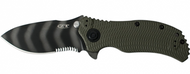 "Zero Tolerance 0301ST Assisted Opening Knife, Tiger Striped 3.75"" Combo Edge Blade"