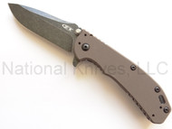 "Zero Tolerance 0566FDEBW Assisted Opening Knife, Blackwashed 3.25"" Plain Edge Blade, Flat Dark Earth G-10 and Stainless Steel Handle"