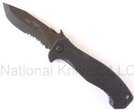 "Emerson Knives Mini CQC-15 BTS Folding Knife, Black 3.5"" Partially Serrated 154CM Blade, Black G-10 Handle, Emerson ""Wave"" Opener"