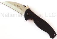 "Emerson Knives P-SARK SF Folding Knife, Satin 3.5"" Plain Edge 154CM Blade, Black G-10 Handle, Emerson ""Wave"" Opener"