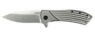 "Zero Tolerance ZT 0801 Flipper Folding Knife, Stonewashed 3.5"" Plain Edge Blade, Titanium Handle"