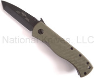 "Emerson CQC-7BW BT Tanto Folding Knife, Black 3-1/8"" Plain Edge 154CM Blade, Jungle Green G-10 Handle, Emerson ""Wave"" Opening Feature"