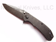 "Zero Tolerance 0566BWCF Limited Edition Folding Knife, Blackwashed 3.25"" Plain Edge Blade, Carbon Fiber and Stainless Steel Handle"