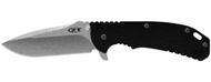 """Zero Tolerance 0560 Flipper Folding Knife, Stonewashed 3.75"""" Plain Edge Blade, Black G-10 and Titanium Handle"""