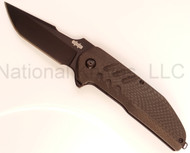 "Brous Blades Strife BLK-STR Folding Knife, Black 3.5"" Plain Edge Blade, Black Carbon Fiber Handle"