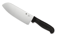 "Spyderco Santoku K08PBK Kitchen Knife, 6.906"" Plain Edge Stainless Steel Blade, Black Handle"