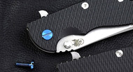 "Rick Hinderer Knives Folding Knife Pivot Screw for XM-18 - 3"", Titanium - Blue"