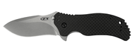 "Zero Tolerance 0350SWCF Assisted Opening Knife, Stonewashed 3.25"" Plain Edge Blade, Black Carbon Fiber Handle"