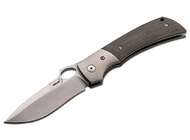 "Boker Plus Squail 01BO310 Folding Knife, 4"" Plain Edge Blade, Beige - Gray Micarta Handle"