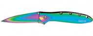"Kershaw Leek 1660VIB Assisted Opening Knife, Rainbow 3"" Plain Edge Blade, Rainbow Stainless Steel Handle"