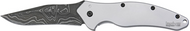 "Kershaw Shallot 1840DAM Assisted Opening Knife, 3.5"" Plain Edge Damascus Blade, Stainless Steel Handle"