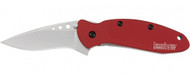 "Kershaw Scallion 1620RD Assisted Opening Knife, 2.25"" Plain Edge Blade, Red Handle"