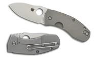 "Spyderco Techno C158TIP Folding Knife, 2.625"" Plain Edge S30V Blade, Titanium Handle"