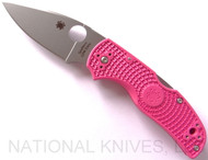 "Spyderco Native 5 C41PPN5 Folding Knife, 3"" Plain Edge S30V Blade, Pink FRN Handle"