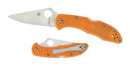 "Spyderco Delica 4 C11FPBORE Sprint Run Folding Knife, 2.875"" Plain Edge HAP40 and SUS 410 Laminat Blade, Burnt Orange FRN Handle"