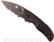 "Spyderco Native 5 C41PSBBK5 Folding Knife, Black 3"" S30V Partially Serrated Blade, Black FRN Handle"