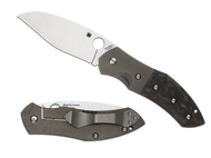 "Spyderco Myrtle C194CFTIP Folding Knife, 3.75"" Plain Edge Blade, Titanium and Black Carbon Fiber Handle"