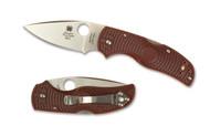 "Spyderco Native 5 C41PMR5 2015 Blade Forums Folding Knife, 3"" Plain Edge S90V Blade, Maroon FRN Handle"
