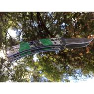 Finney Knives Squire 501-FK1 Folding Pocket Knife, 2.75 Plain Edge Blade, Abalone/Variscite Handle